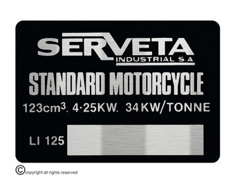 Lambretta Serveta LI 125 VIN Chassis Plate