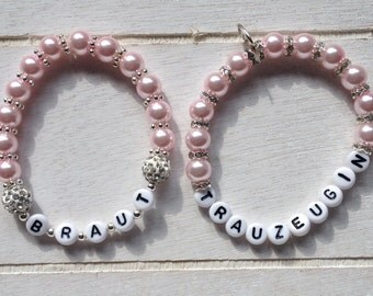 Personalized pearl bracelet set bride and Maid of honor for your wedding