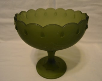 Indiana Glass Green Satin Mist Garland Teardrop Pattern Compote Candy Dish Vintage Item #2656
