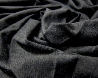 Bamboo Fabric, Black, Bamboo Organic Cotton Spandex blend fabric, Bamboo blend fabric, Bamboo Knit fabric, Bamboo Fabric by the yard, 1 yard