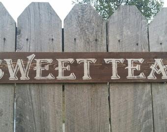 Sweet Tea Sign, Rustic Wood Sign, Wood Wall Art, Rustic Wall Art, Wood Decor, Hand Painted Sign, Distressed Sign, Kitchen Wall Decor