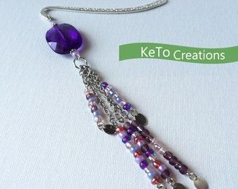 Shepherd Hook Bookmark, Hand Crafted Decorative Hook Bookmark, Purple Bead Bookmark, Bead Bookmark, Under 15