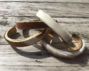 Cowhide bangle bracelets