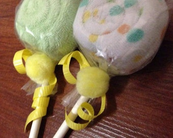 Set of 2 Washcloth Lollipops