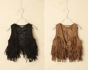 Girls fringe vest