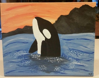 Orca Whale & Sunset Painting