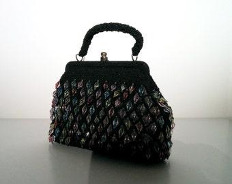 Lulu Guinness Black drop beaded evening bag.