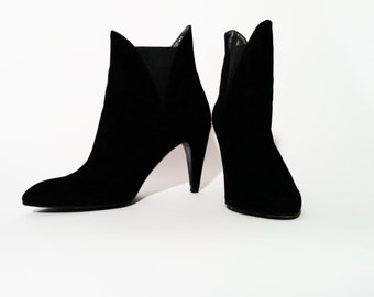 Vintage Black Suede Ankle Boots with Elasticated Sides by Charles Jourdan