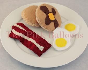 Felt Food Breakfast - Felt Eggs - Bacon - Pancakes - Play Food
