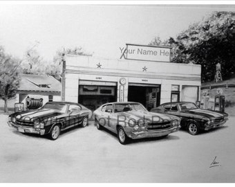 69-70-71 Chevy Chevelle Customized Pencil Drawing Print