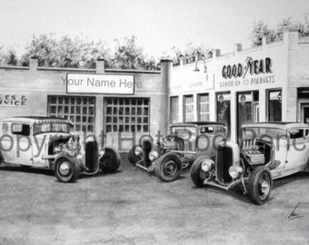 Vintage Ford T Bucket Hot Rods Customized Pencil Drawing Print FREE SHIPPING