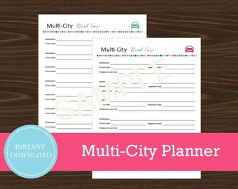 Multi-City Road Trip Planner - Vacation Planner - Printable and Editable - Travel Planner - INSTANT PDF DOWNLOAD