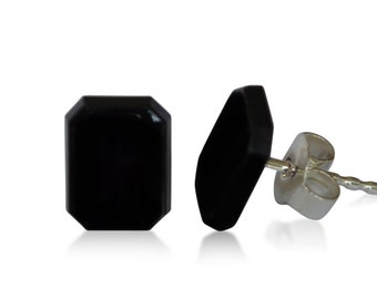 Onyx earrings, of course, Octagon, 9 x 7 mm, 925 Silver