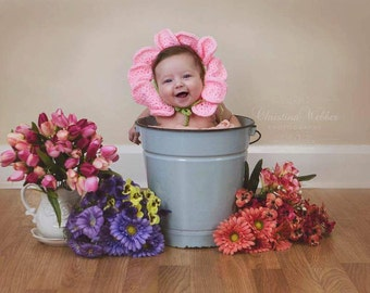 Crochet baby flower bonnet photo prop