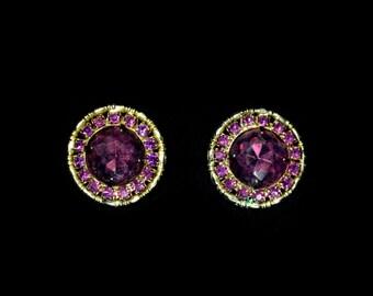 Gorgeous Weiss Purple Rhinestone Clip on Earrings