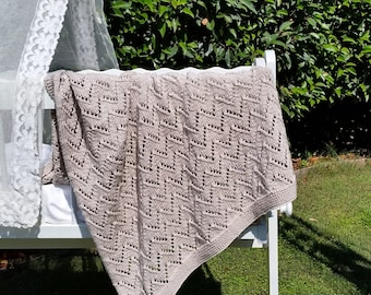 100% Cotton Baby Blanket, Pure Cotton, Soft Natural yarn, Hand Knitted, Lacy Chevron Stitch