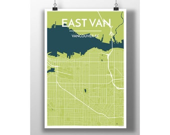 East Van Neighbourhood, Vancouver BC - Map Print