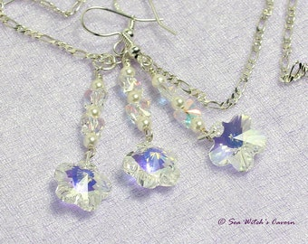 Crystal Flower Jewellery Set with Pearls   Swarovski Necklace & Earring Set   Bridal bridesmaids Jewellery Set   Swarovski Jewellery   A0415
