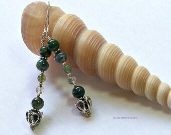 Green Earrings   Green Moss Agate Earrings   Modern Everyday Earrings   Moss Agate Jewellery   Green Gemstone earrings   Earring Gift  A0052