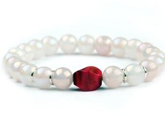 Rose Quartz Bracelet. Elegant Stacking bracelet: Madagascar rose quartz with fuchsia tiger eye bracelet with sterling silver.