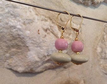 Artisan earrings ceramic - Rose pale and green water