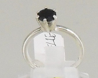 silver ring 925 and pierre fine black spinel