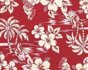 Red Hawaiian Cotton Fabric Fat Quarter 18 X 22