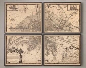 1672 PLAN DE PARIS Four Panel Map, Vintage Paris, Old Map, City Map, Large Wall Art, Map of Paris, Plan of Paris, Paris Plan, French Art