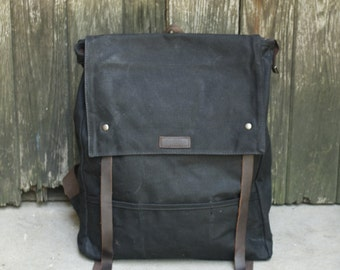 Flap-top Leather Canvas backpack