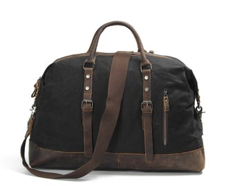 Leather Waxed Canvas Duffle Bag ( Black)