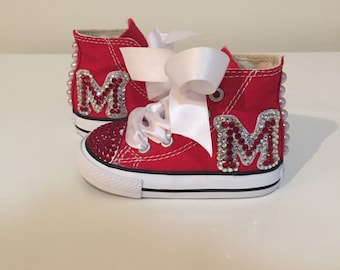 White and Red Rhinestone Converse Shoes