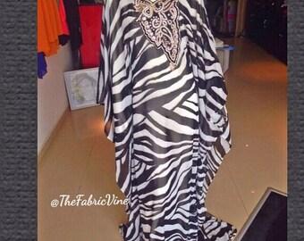 Zebra Print Chrystal neckline Kaftan