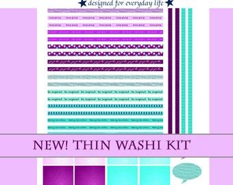 Super Cute Purple & Turquoise Thin Washi Kit / Erin Condren Planner / Happy Planner / Planner Stickers / Half-Box / Calendar Stickers