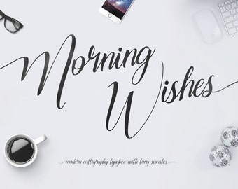 Morning Wishes Font Typeface Free Long Swash Glyphs Swashes Vector