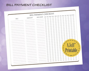 items similar to bill payment checklist printable pdf custom organizer planner instant. Black Bedroom Furniture Sets. Home Design Ideas