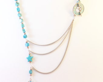 Turquoise Stone and Silver Necklace