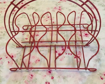 Vintage Red Glassware Caddy
