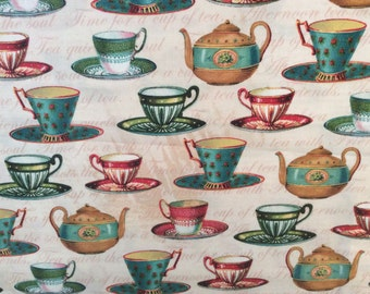 Tea Cup Fabric/ Lula Bijoux Studio for Four Seasons/ David Textiles/ Cotton/ Sold by the Yard