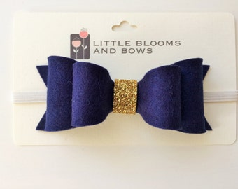 """Navy Blue """"Susan"""" double bow with glitter gold center - headband - alligator clip"""