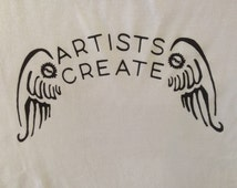 Artists Create with Wings MBRC Logo Tee Shirt. Screen Print Artists Tee Shirt. Artists Gift. Steampunk Wings Tee Shirt.