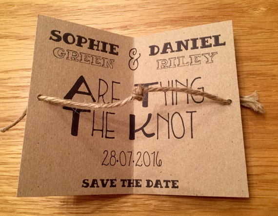 tying the knot save the date cards with envelopes wedding