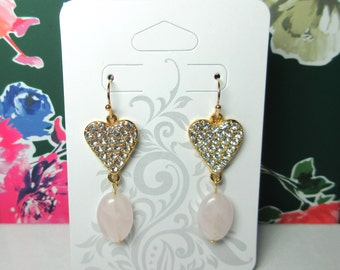 Gold Dangle Earrings - Rose Quartz