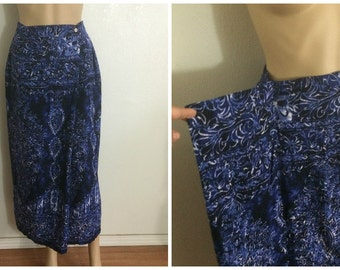 Small Wrap Skirt / Maxi skirt / Summer / Navy Ethnic Print / Long Skort