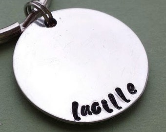 "Add on a 1"" Aluminum disc to your penny keychain, personalized name, hand stamped, personalized gift, unique, custom idea, add on"