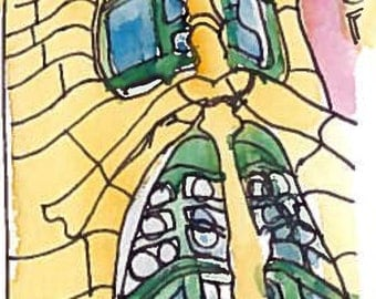 Gaudi's House, Barcelona - Bespoke watercolour card/print