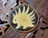 "3.5"" Porcupine Coaster (or Wall Art) - Pyrography Art, Wood Art, Drink Coaster, Wood Coaster, Free State Project"