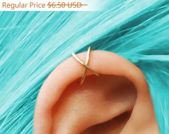 ON SALE,  Ear Cuff, Criss Cross Ear Cuff,  No Piercing, Cartilage Ear Cuff, Fake Ear Cuff, Fake Cartilage Earring