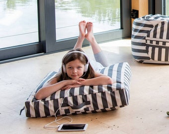Floor Pillow, Bean Bag with Removable Washable Cover. Gray - white striped. Scandinavian design