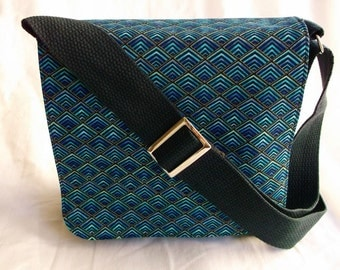 Blue Chevron Messenger Bag,Tote,Purse,Computer Bag, by Fun prints Colorado