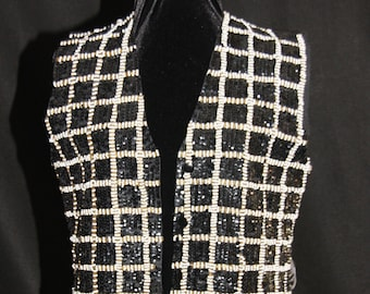 Sequin & Beaded Tuxedo Checkered Vest 100% Rayon